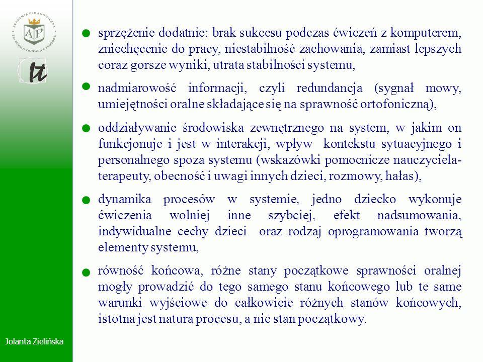 Jolanta Zielińska sprzężenie dodatnie: brak sukcesu podczas ćwiczeń z komputerem, zniechęcenie do pracy, niestabilność zachowania, zamiast lepszych co