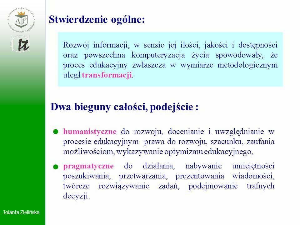 Jolanta Zielińska gromadzenie i dostępność informacji, organizacja procesu dydaktycznego, diagnostycznego, rehabilitacyjnego, zastosowanie w praktyce konkretnej metody, prowadzenie procesu ewaluacji.