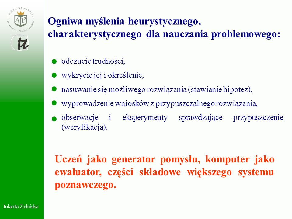 Jolanta Zielińska Ogniwa myślenia heurystycznego, charakterystycznego dla nauczania problemowego: odczucie trudności, wykrycie jej i określenie, nasuw