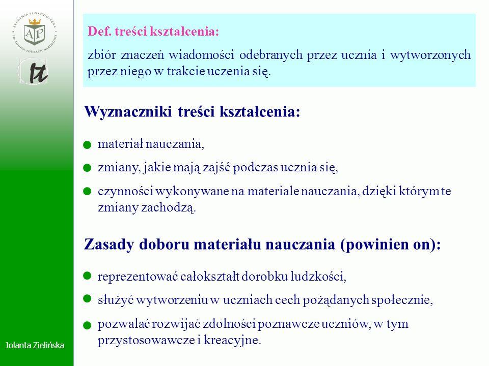 Jolanta Zielińska Def. treści kształcenia: zbiór znaczeń wiadomości odebranych przez ucznia i wytworzonych przez niego w trakcie uczenia się. Wyznaczn