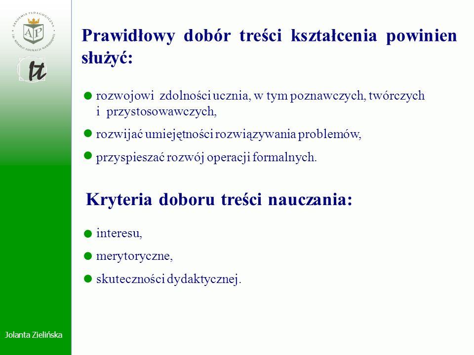 Jolanta Zielińska rozwojowi zdolności ucznia, w tym poznawczych, twórczych i przystosowawczych, rozwijać umiejętności rozwiązywania problemów, przyspi