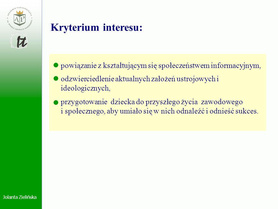 Jolanta Zielińska powiązanie z kształtującym się społeczeństwem informacyjnym, odzwierciedlenie aktualnych założeń ustrojowych i ideologicznych, przyg