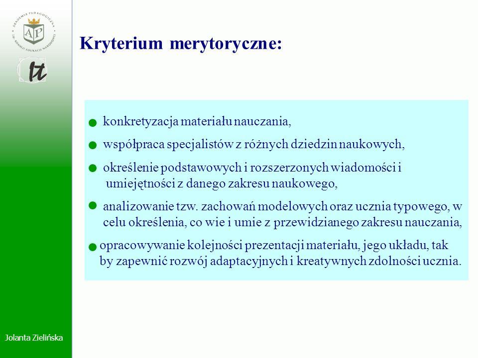 Jolanta Zielińska konkretyzacja materiału nauczania, współpraca specjalistów z różnych dziedzin naukowych, określenie podstawowych i rozszerzonych wia