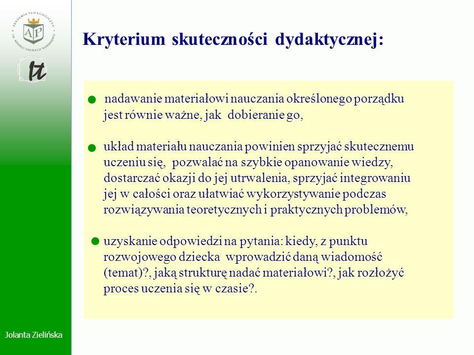 Jolanta Zielińska nadawanie materiałowi nauczania określonego porządku jest równie ważne, jak dobieranie go, układ materiału nauczania powinien sprzyj