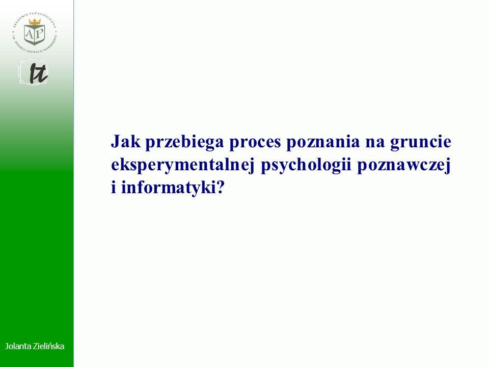 Jolanta Zielińska Jak przebiega proces poznania na gruncie eksperymentalnej psychologii poznawczej i informatyki?