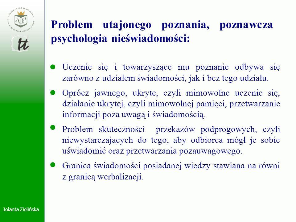 Jolanta Zielińska Problem utajonego poznania, poznawcza psychologia nieświadomości: Uczenie się i towarzyszące mu poznanie odbywa się zarówno z udział