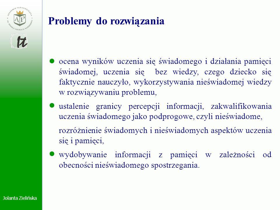 Jolanta Zielińska Problemy do rozwiązania ocena wyników uczenia się świadomego i działania pamięci świadomej, uczenia się bez wiedzy, czego dziecko si