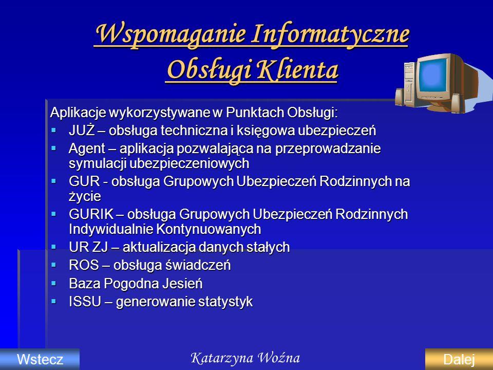 Wspomaganie Informatyczne Obsługi Klienta Aplikacje wykorzystywane w Punktach Obsługi: JUŻ – obsługa techniczna i księgowa ubezpieczeń JUŻ – obsługa t