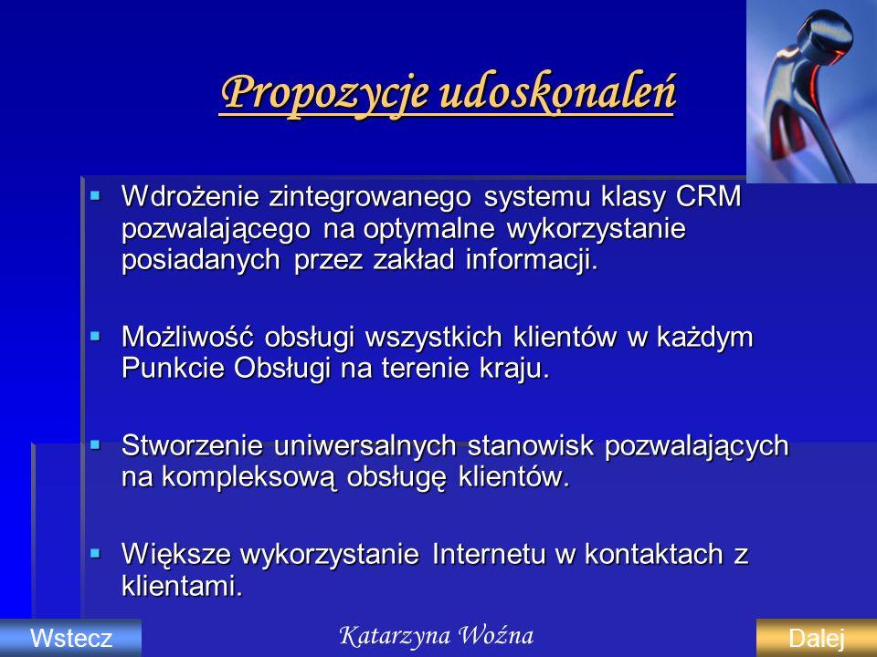 Propozycje udoskonaleń Wdrożenie zintegrowanego systemu klasy CRM pozwalającego na optymalne wykorzystanie posiadanych przez zakład informacji. Wdroże