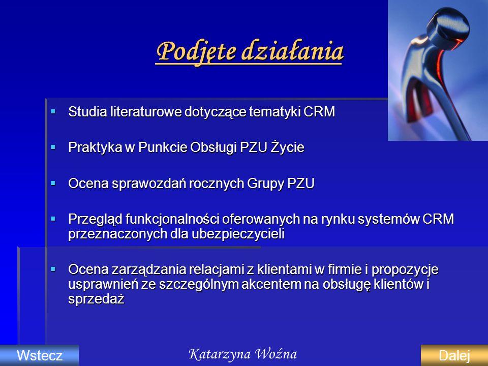 Podjęte działania Studia literaturowe dotyczące tematyki CRM Studia literaturowe dotyczące tematyki CRM Praktyka w Punkcie Obsługi PZU Życie Praktyka
