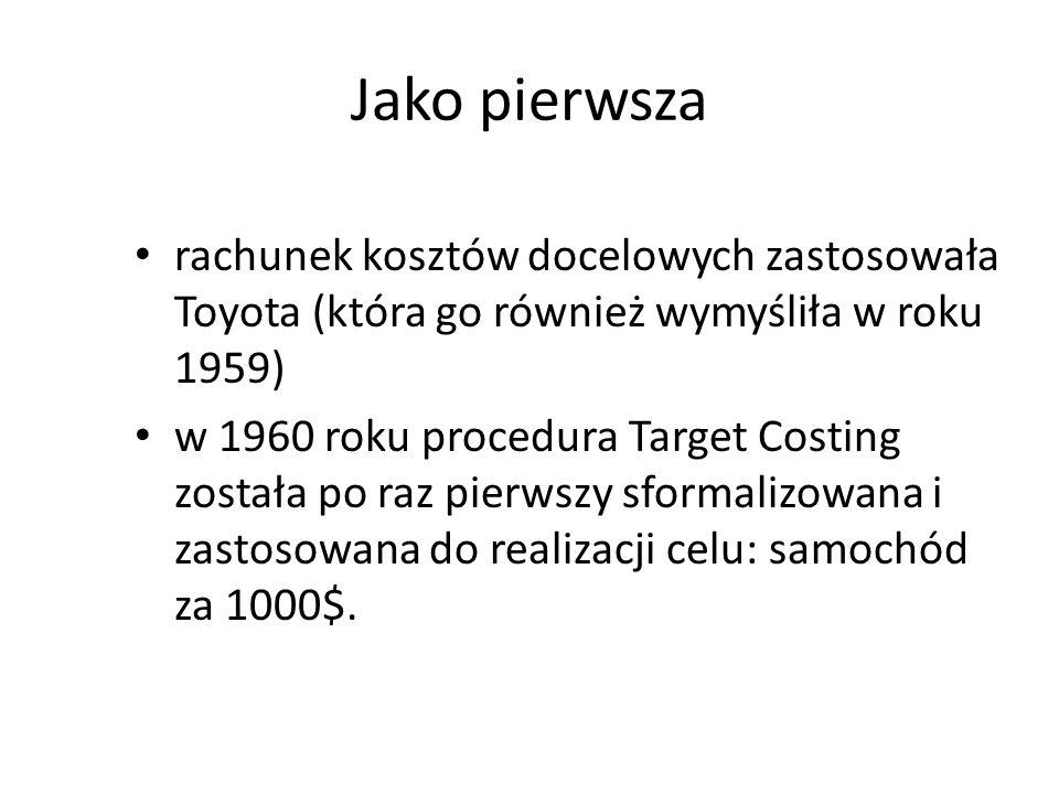 Jako pierwsza rachunek kosztów docelowych zastosowała Toyota (która go również wymyśliła w roku 1959) w 1960 roku procedura Target Costing została po