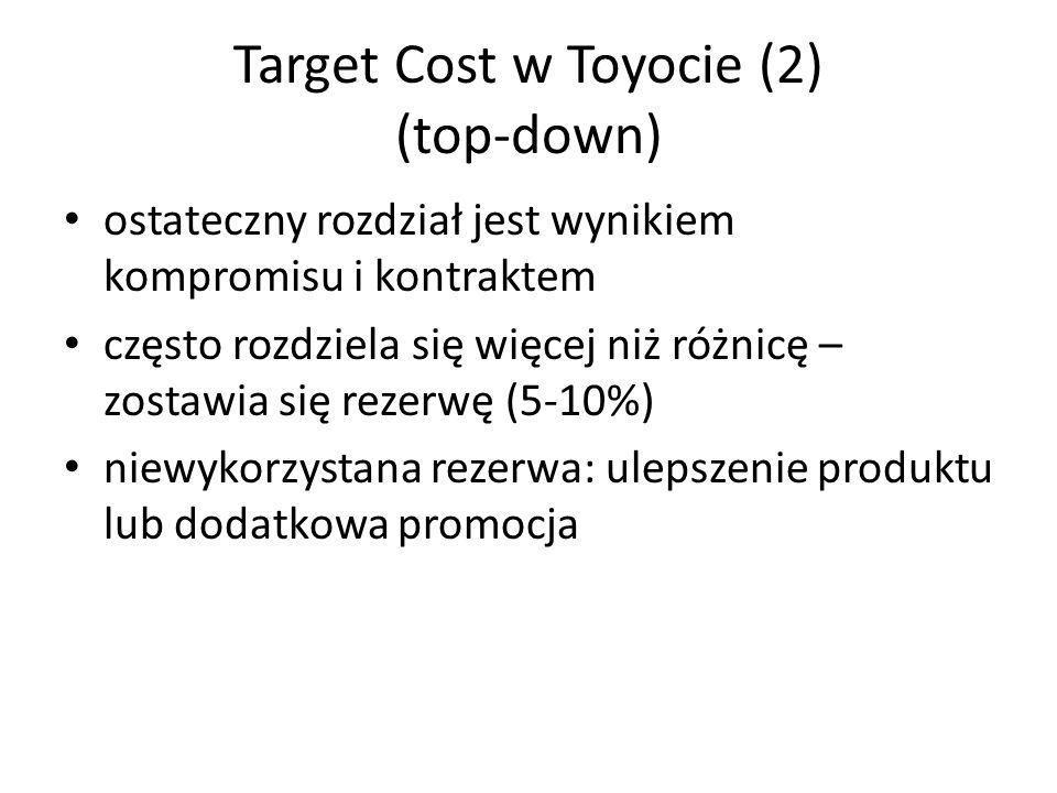 Target Cost w Toyocie (2) (top-down) ostateczny rozdział jest wynikiem kompromisu i kontraktem często rozdziela się więcej niż różnicę – zostawia się