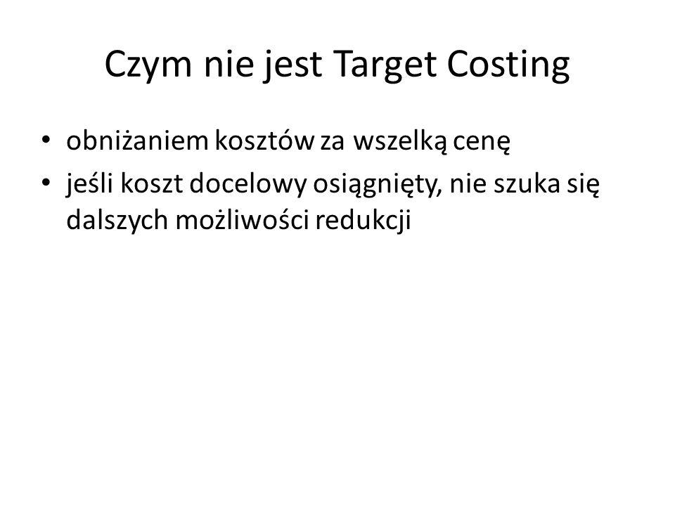 Czym nie jest Target Costing obniżaniem kosztów za wszelką cenę jeśli koszt docelowy osiągnięty, nie szuka się dalszych możliwości redukcji