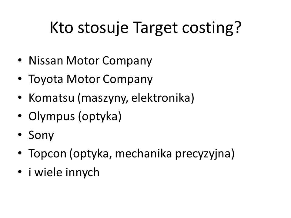 Kto stosuje Target costing? Nissan Motor Company Toyota Motor Company Komatsu (maszyny, elektronika) Olympus (optyka) Sony Topcon (optyka, mechanika p