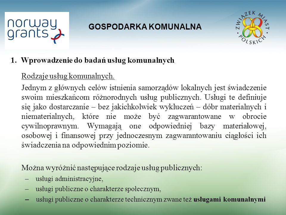 GOSPODARKA KOMUNALNA 1.Wprowadzenie do badań usług komunalnych Rodzaje usług komunalnych.