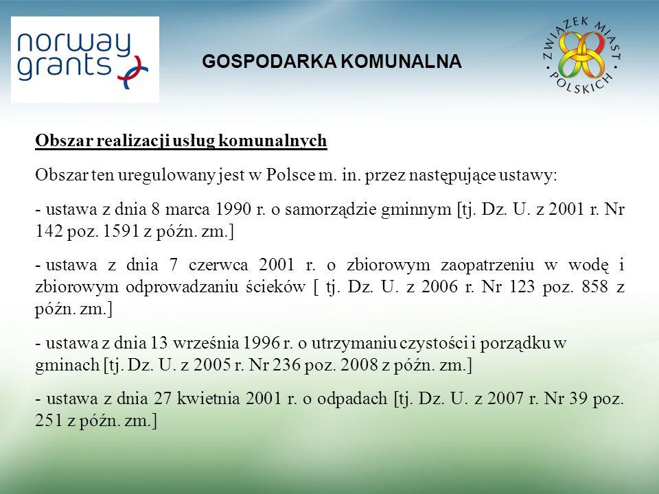 GOSPODARKA KOMUNALNA Obszar realizacji usług komunalnych Obszar ten uregulowany jest w Polsce m. in. przez następujące ustawy: - ustawa z dnia 8 marca
