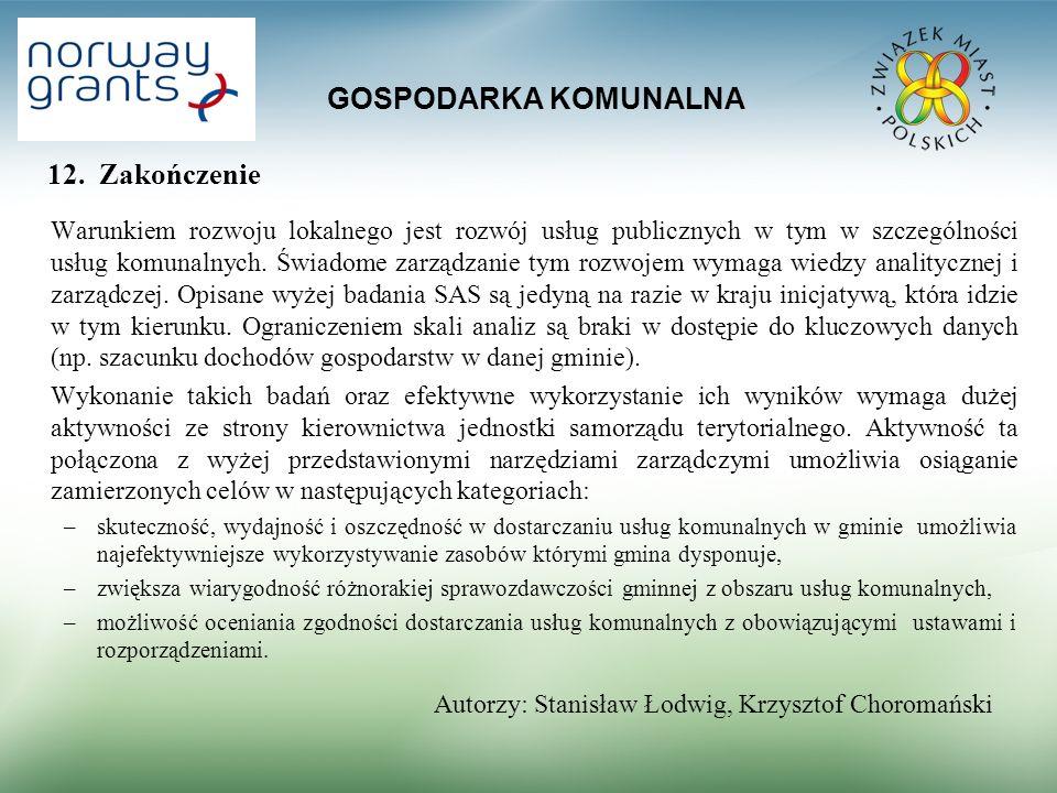GOSPODARKA KOMUNALNA 12. Zakończenie Warunkiem rozwoju lokalnego jest rozwój usług publicznych w tym w szczególności usług komunalnych. Świadome zarzą