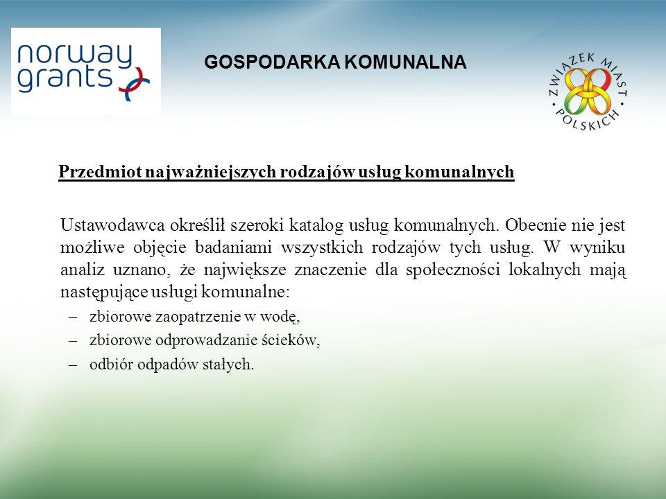 GOSPODARKA KOMUNALNA Przedmiot najważniejszych rodzajów usług komunalnych Ustawodawca określił szeroki katalog usług komunalnych. Obecnie nie jest moż