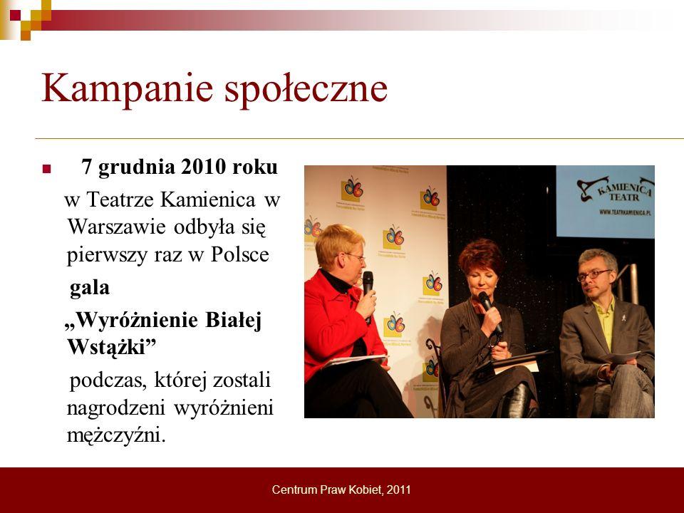 Kampanie społeczne 7 grudnia 2010 roku w Teatrze Kamienica w Warszawie odbyła się pierwszy raz w Polsce gala Wyróżnienie Białej Wstążki podczas, które