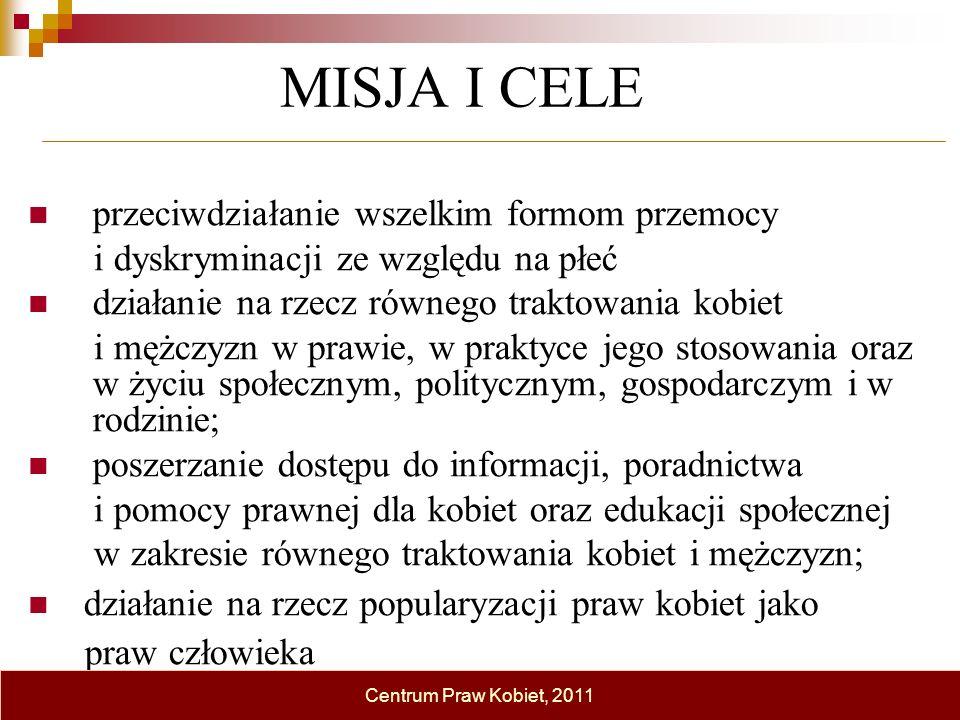 MISJA I CELE przeciwdziałanie wszelkim formom przemocy i dyskryminacji ze względu na płeć działanie na rzecz równego traktowania kobiet i mężczyzn w p