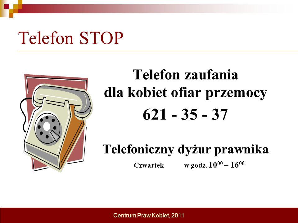 Telefon STOP Telefon zaufania dla kobiet ofiar przemocy 621 - 35 - 37 Telefoniczny dyżur prawnika Czwartek w godz. 10 00 – 16 00 Centrum Praw Kobiet,