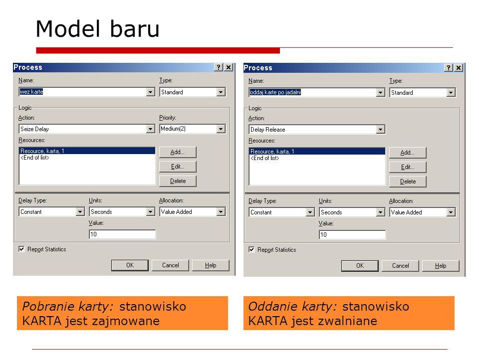 Model baru Pobranie karty: stanowisko KARTA jest zajmowane Oddanie karty: stanowisko KARTA jest zwalniane