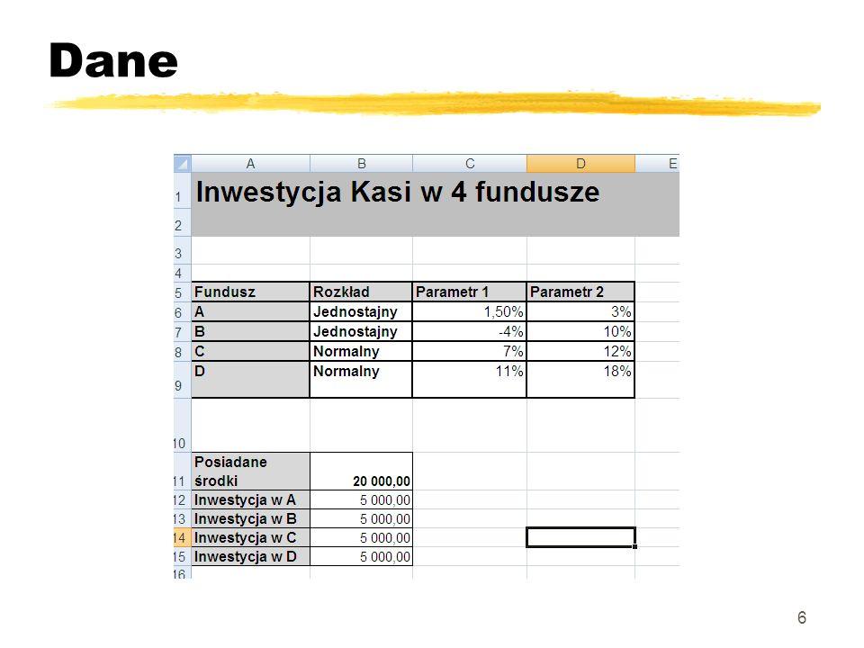 Model główny – roczna inwestycja 7 Model główny to symulacja 12 miesięcy oszczędzania w każdym z 4 funduszy Oszczędności po 12 miesiącach to komórka żółta W23: (Suma komórek =J23+N23+R23+V23)
