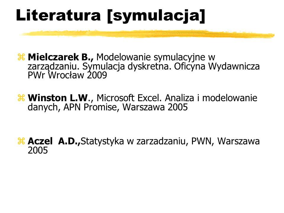 Literatura [symulacja] zMielczarek B., Modelowanie symulacyjne w zarządzaniu. Symulacja dyskretna. Oficyna Wydawnicza PWr Wrocław 2009 zWinston L.W.,