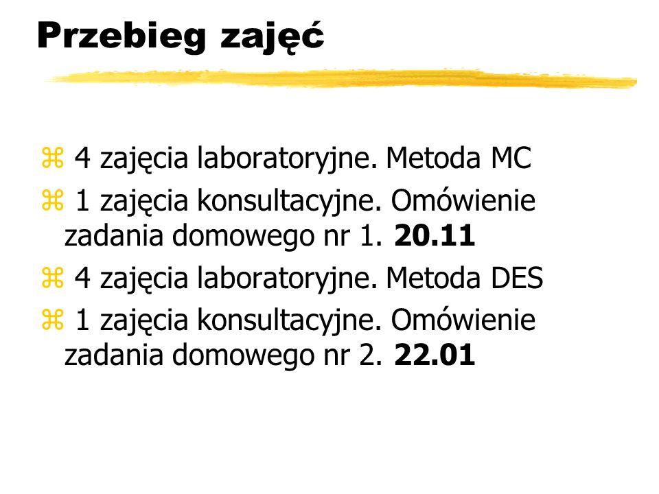 Przebieg zajęć z 4 zajęcia laboratoryjne. Metoda MC z 1 zajęcia konsultacyjne. Omówienie zadania domowego nr 1. 20.11 z 4 zajęcia laboratoryjne. Metod