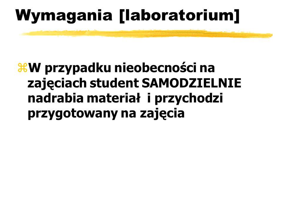 Wymagania [laboratorium] zW przypadku nieobecności na zajęciach student SAMODZIELNIE nadrabia materiał i przychodzi przygotowany na zajęcia