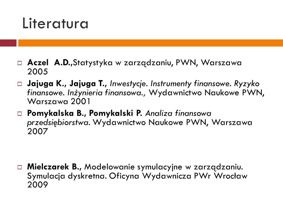 Literatura Aczel A.D.,Statystyka w zarządzaniu, PWN, Warszawa 2005 Jajuga K., Jajuga T., Inwestycje. Instrumenty finansowe. Ryzyko finansowe. Inżynier