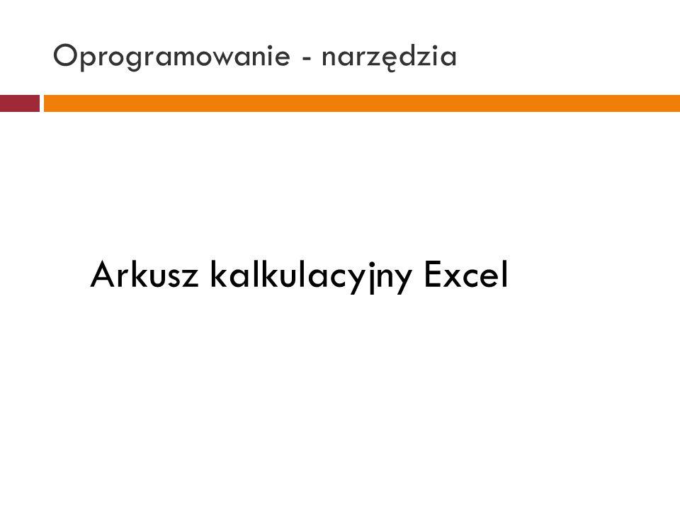 Oprogramowanie - narzędzia Arkusz kalkulacyjny Excel