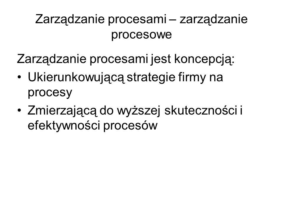 Zarządzanie procesami – zarządzanie procesowe Zarządzanie procesami jest koncepcją: Ukierunkowującą strategie firmy na procesy Zmierzającą do wyższej