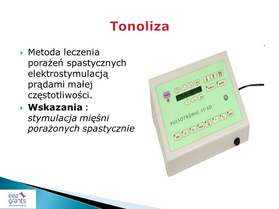 Metoda leczenia porażeń spastycznych elektrostymulacją prądami małej częstotliwości. Wskazania : stymulacja mięśni porażonych spastycznie