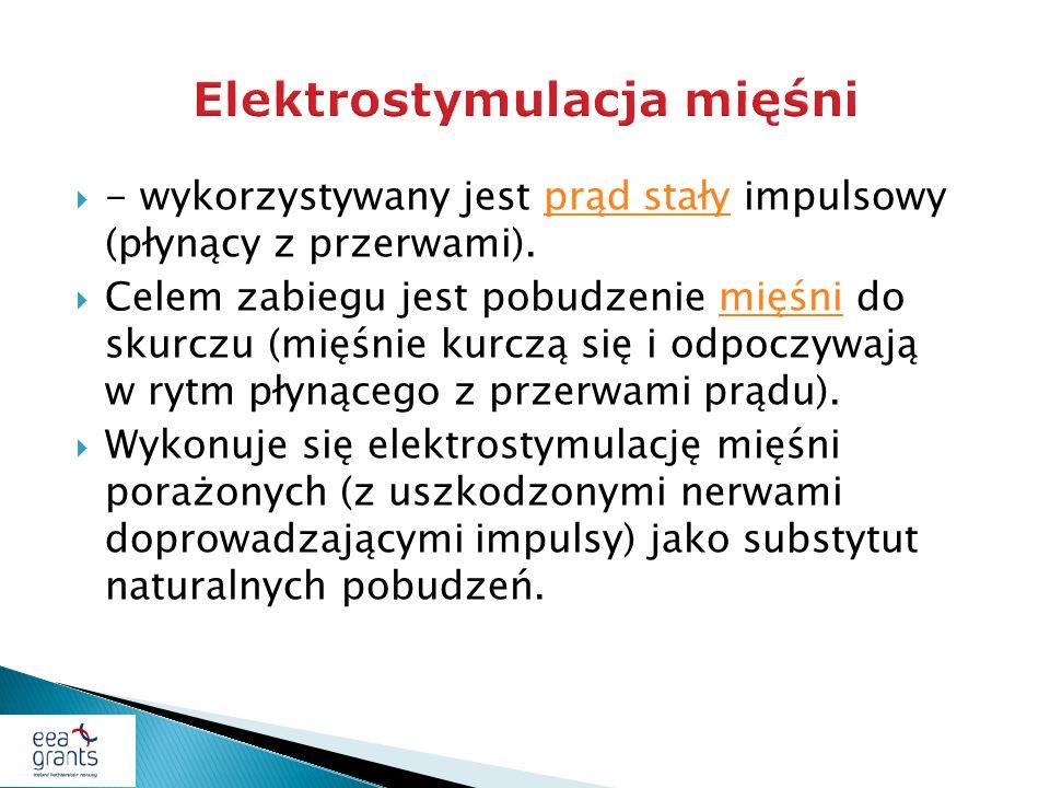 - wykorzystywany jest prąd stały impulsowy (płynący z przerwami).prąd stały Celem zabiegu jest pobudzenie mięśni do skurczu (mięśnie kurczą się i odpo