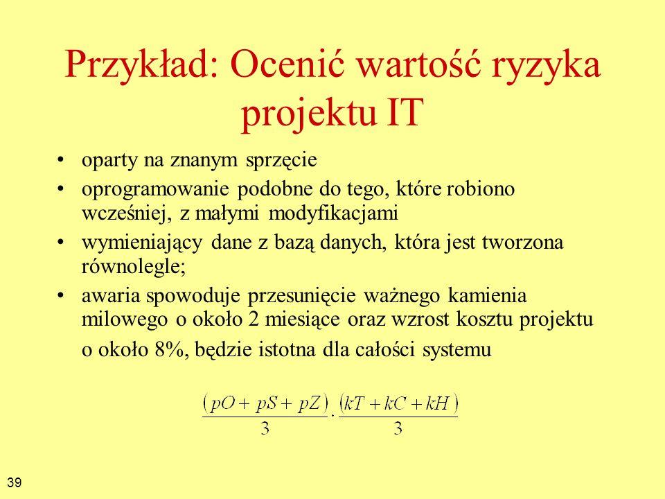 39 Przykład: Ocenić wartość ryzyka projektu IT oparty na znanym sprzęcie oprogramowanie podobne do tego, które robiono wcześniej, z małymi modyfikacja