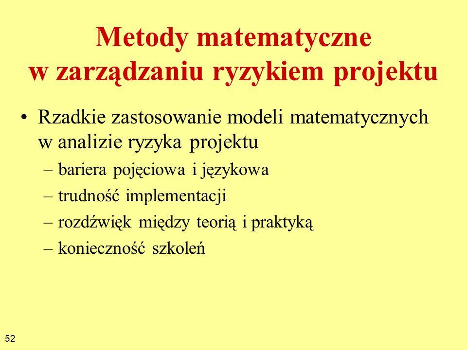 52 Metody matematyczne w zarządzaniu ryzykiem projektu Rzadkie zastosowanie modeli matematycznych w analizie ryzyka projektu –bariera pojęciowa i języ