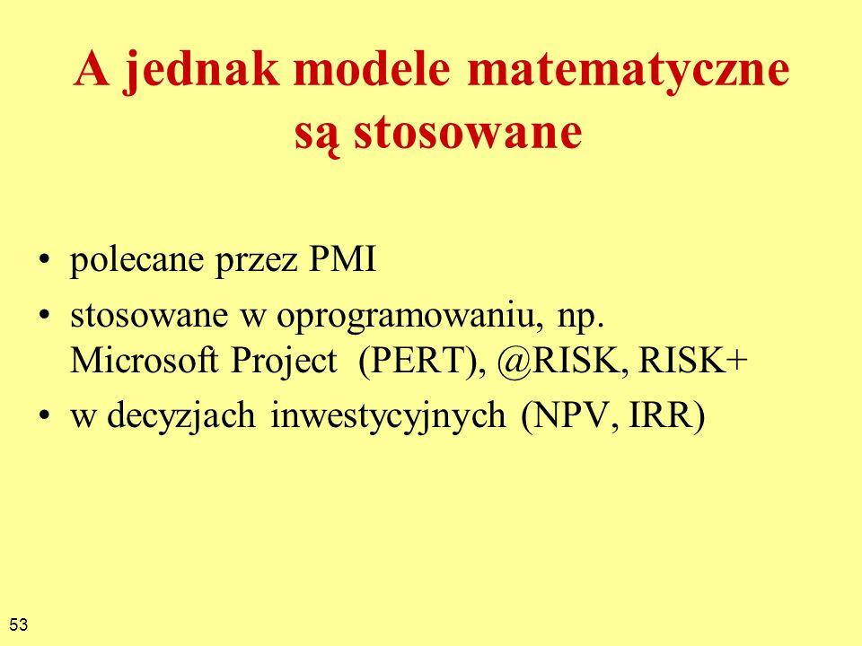 53 A jednak modele matematyczne są stosowane polecane przez PMI stosowane w oprogramowaniu, np. Microsoft Project (PERT), @RISK, RISK+ w decyzjach inw