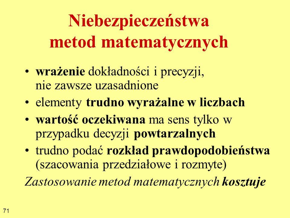 71 Niebezpieczeństwa metod matematycznych wrażenie dokładności i precyzji, nie zawsze uzasadnione elementy trudno wyrażalne w liczbach wartość oczekiw