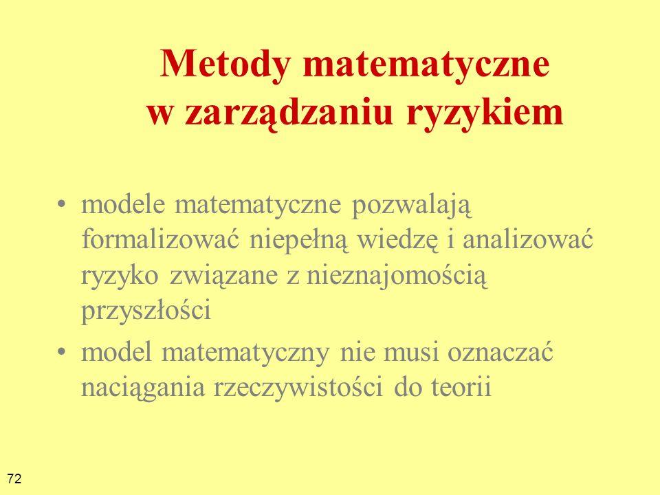 72 Metody matematyczne w zarządzaniu ryzykiem modele matematyczne pozwalają formalizować niepełną wiedzę i analizować ryzyko związane z nieznajomością