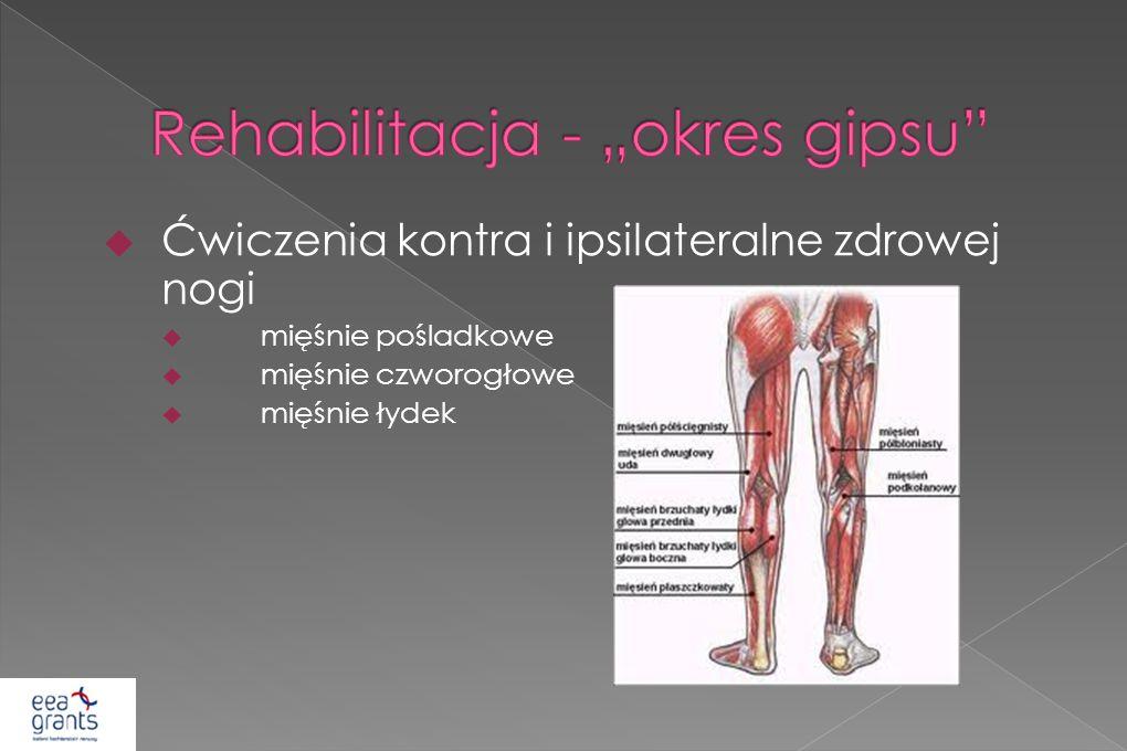 Ćwiczenia kontra i ipsilateralne zdrowej nogi mięśnie pośladkowe mięśnie czworogłowe mięśnie łydek