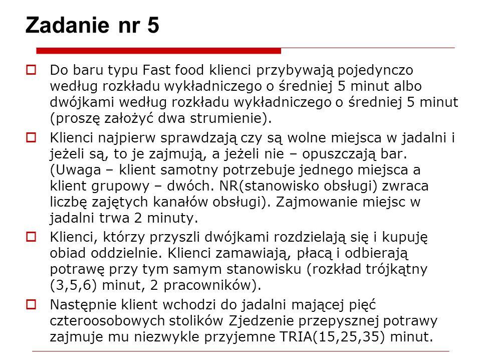 Zadanie nr 5 Do baru typu Fast food klienci przybywają pojedynczo według rozkładu wykładniczego o średniej 5 minut albo dwójkami według rozkładu wykładniczego o średniej 5 minut (proszę założyć dwa strumienie).
