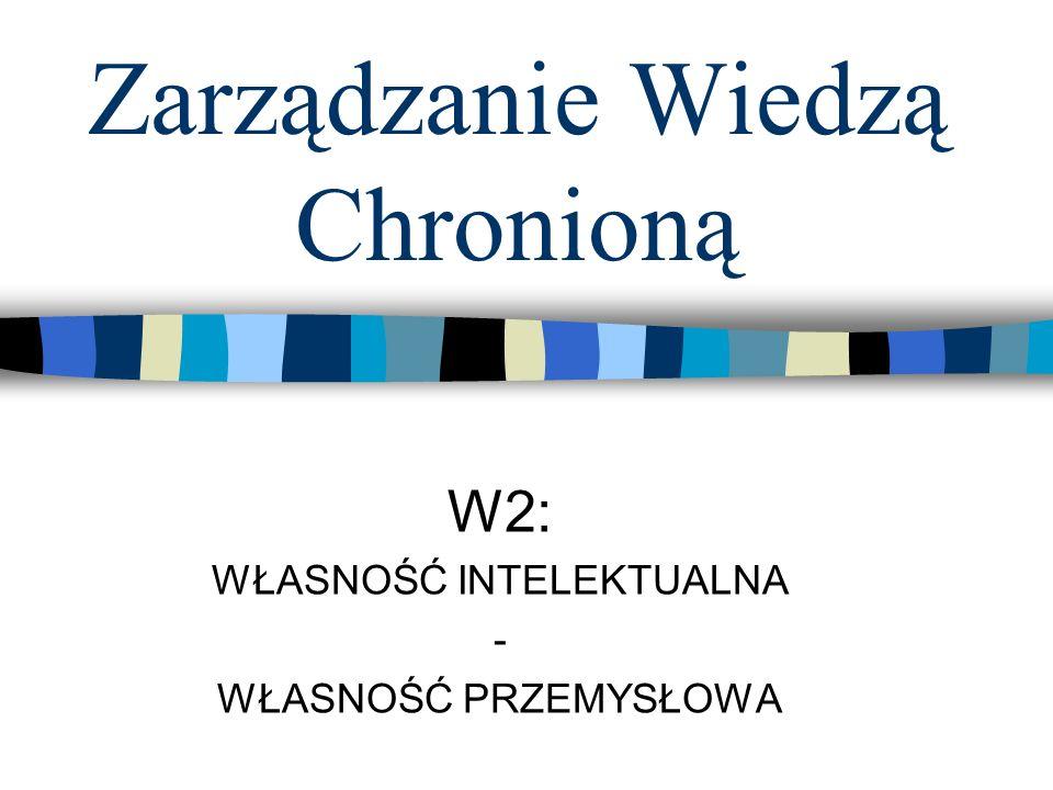 Zarządzanie Wiedzą Chronioną W2: WŁASNOŚĆ INTELEKTUALNA - WŁASNOŚĆ PRZEMYSŁOWA