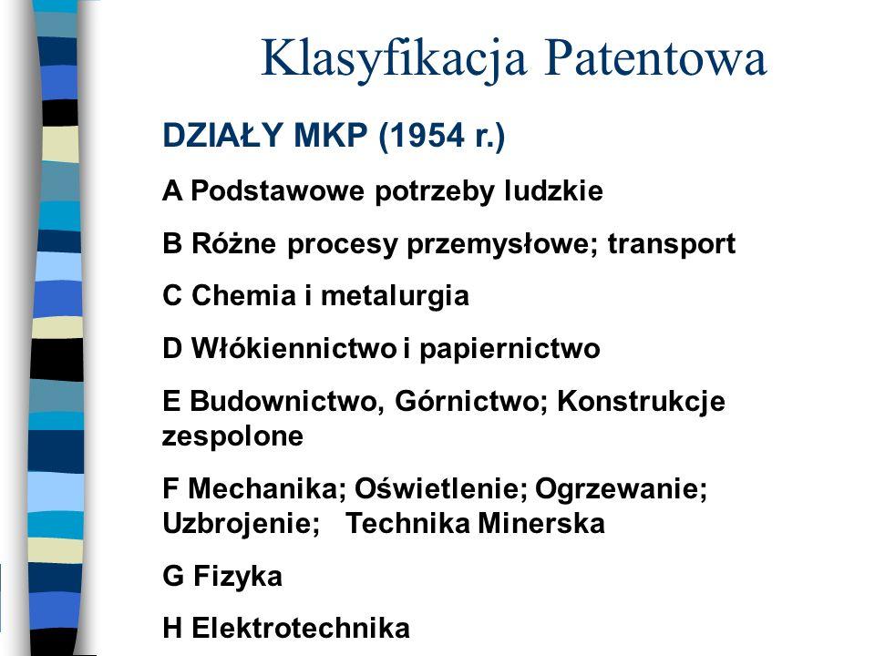 DZIAŁY MKP (1954 r.) A Podstawowe potrzeby ludzkie B Różne procesy przemysłowe; transport C Chemia i metalurgia D Włókiennictwo i papiernictwo E Budow