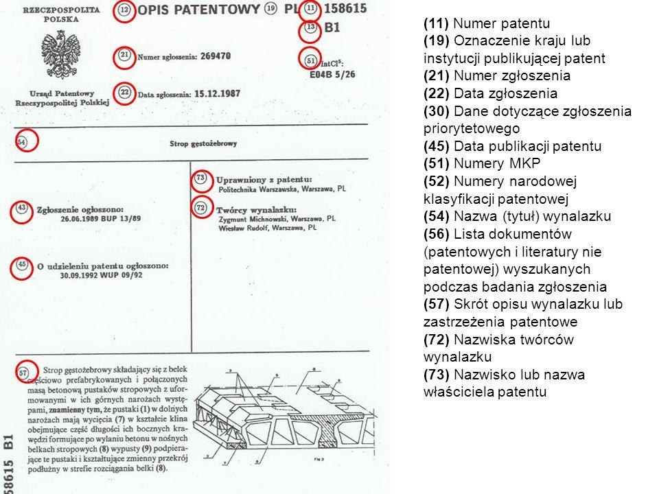 (11) Numer patentu (19) Oznaczenie kraju lub instytucji publikującej patent (21) Numer zgłoszenia (22) Data zgłoszenia (30) Dane dotyczące zgłoszenia