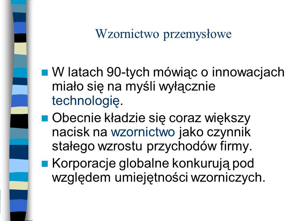 Wzornictwo przemysłowe W latach 90-tych mówiąc o innowacjach miało się na myśli wyłącznie technologię. Obecnie kładzie się coraz większy nacisk na wzo