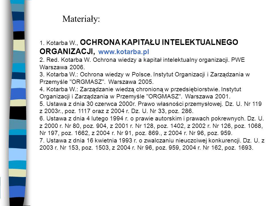 1. Kotarba W., OCHRONA KAPITAŁU INTELEKTUALNEGO ORGANIZACJI, www.kotarba.pl 2. Red. Kotarba W. Ochrona wiedzy a kapitał intelektualny organizacji. PWE