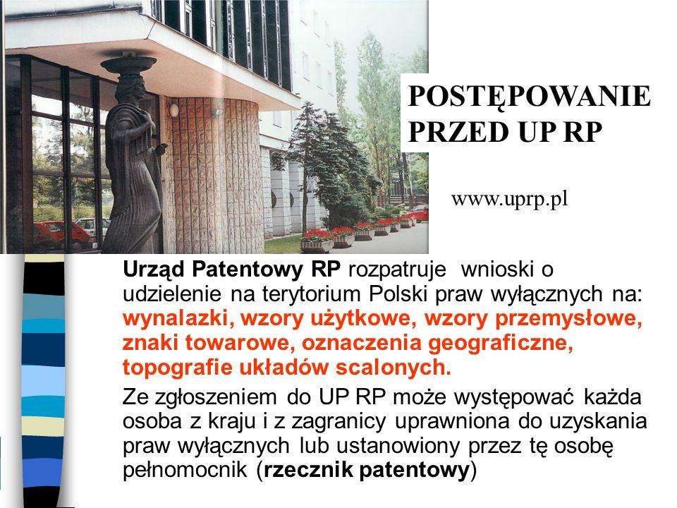 Urząd Patentowy RP rozpatruje wnioski o udzielenie na terytorium Polski praw wyłącznych na: wynalazki, wzory użytkowe, wzory przemysłowe, znaki towaro