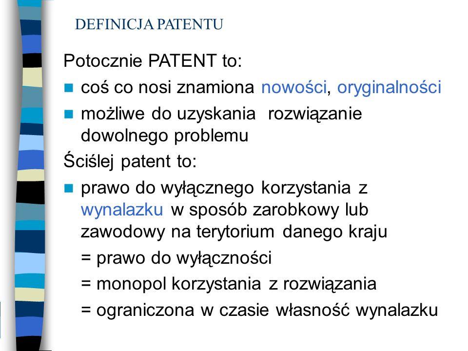 Potocznie PATENT to: coś co nosi znamiona nowości, oryginalności możliwe do uzyskania rozwiązanie dowolnego problemu Ściślej patent to: prawo do wyłąc