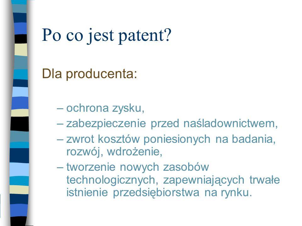 Po co jest patent? Dla producenta: –ochrona zysku, –zabezpieczenie przed naśladownictwem, –zwrot kosztów poniesionych na badania, rozwój, wdrożenie, –